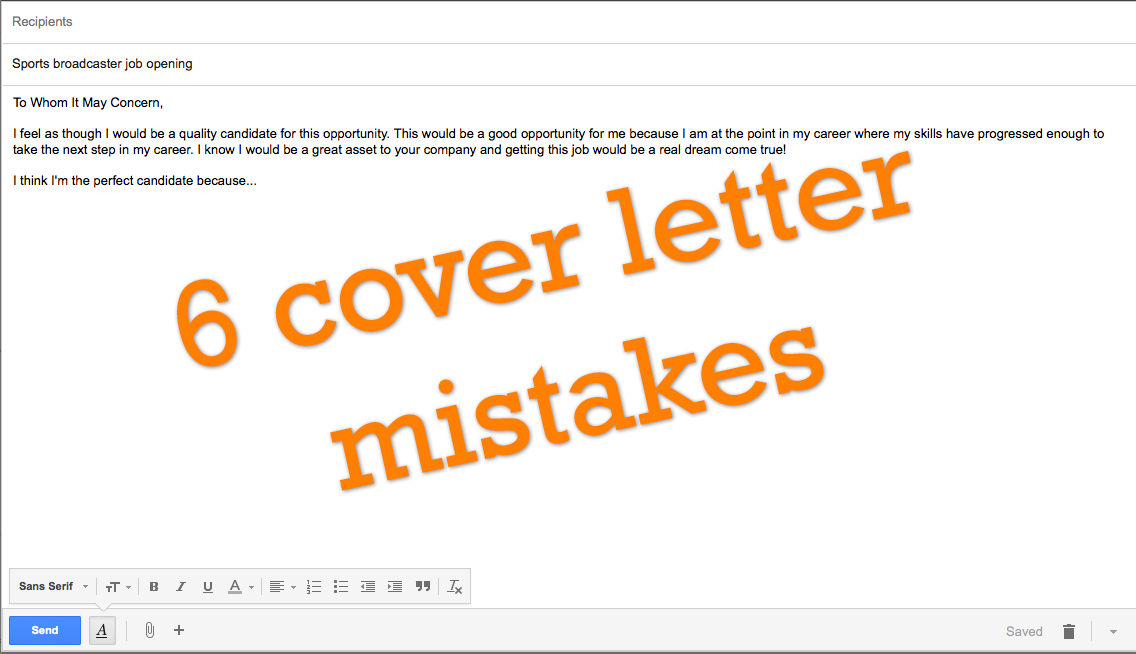 common cover letter mistakes | Sportscasters Talent Agency of ...