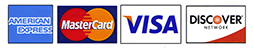 Credit cards accepted - American Express, Visa, Mastercard, Discover